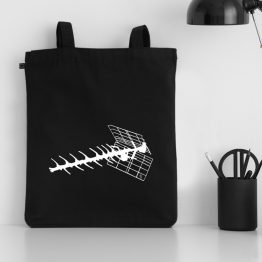 My antenna space design silkscreen printed on a tote bag made of organic cotton. Unisex