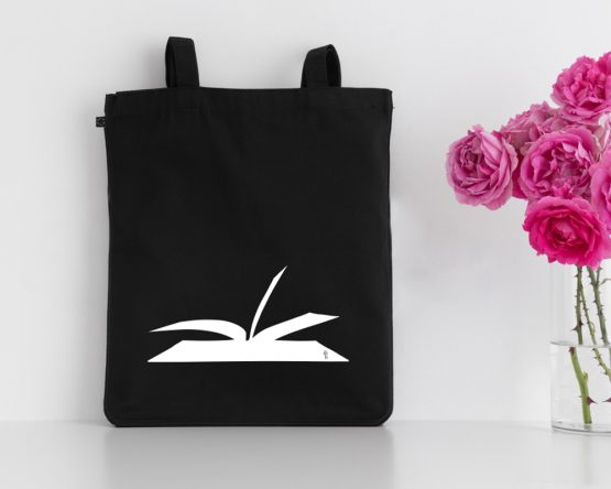 My book design silkscreen printed on a tote bag made of organic cotton. Unisex