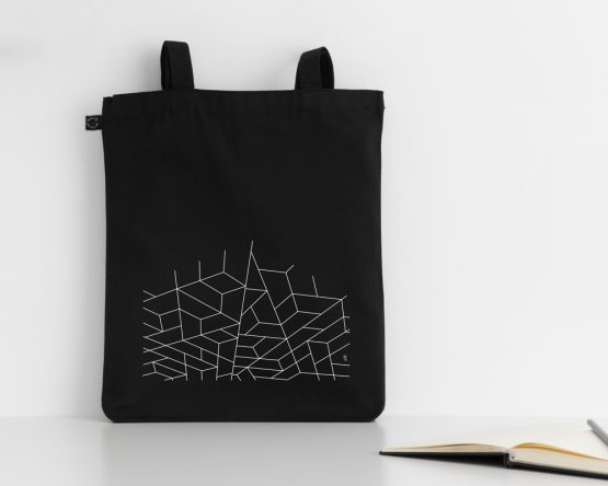 My eye-roof design silkscreen printed on a tote bag made of organic cotton. Unisex