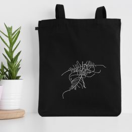My fern design silkscreen printed on a tote bag made of organic cotton. Unisex