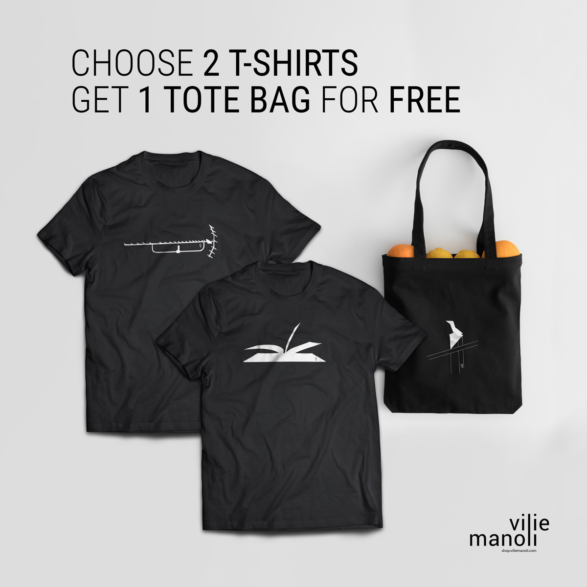 Two t-shirts and a tote bags with designs silkscreen printed on a tote bag made of organic cotton. Unisex