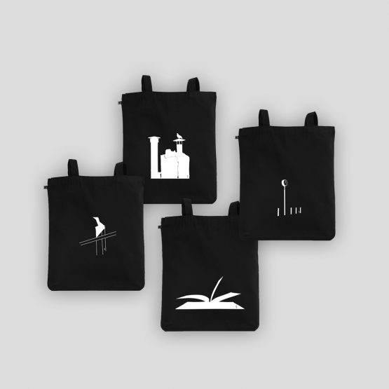 Four tote bags with designs silkscreen printed on a tote bag made of organic cotton. Unisex